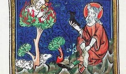 Moise et le buisson ardent, Michiel, extrait de Jacob van Maerlant's Rhimebible d'Utrecht