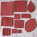 Création de texture type tampon, en fimo