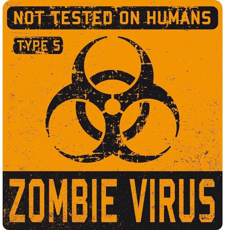 label biohazard zombie virus orange