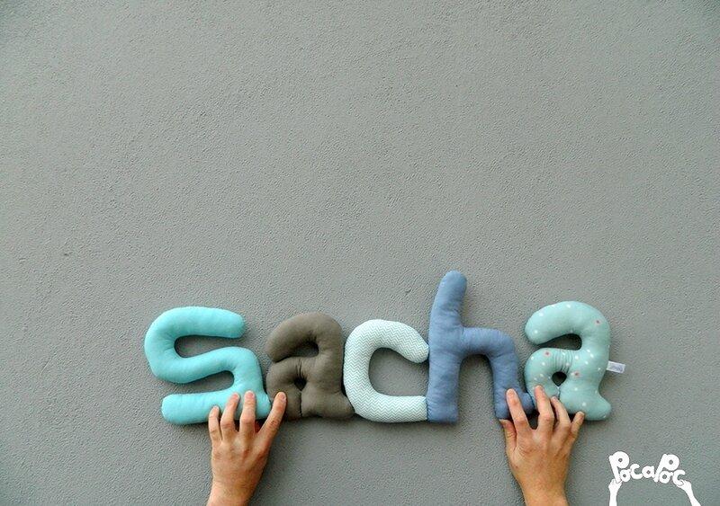 sacha 4,mot deco,mot en tissu,mot decoratif,cadeau de naissance,decoration chambre d'enfant,cadeau personnalise,cadeau original,poc a poc blog