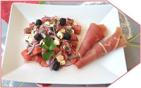 salade pastèque, feta et jambon sec7