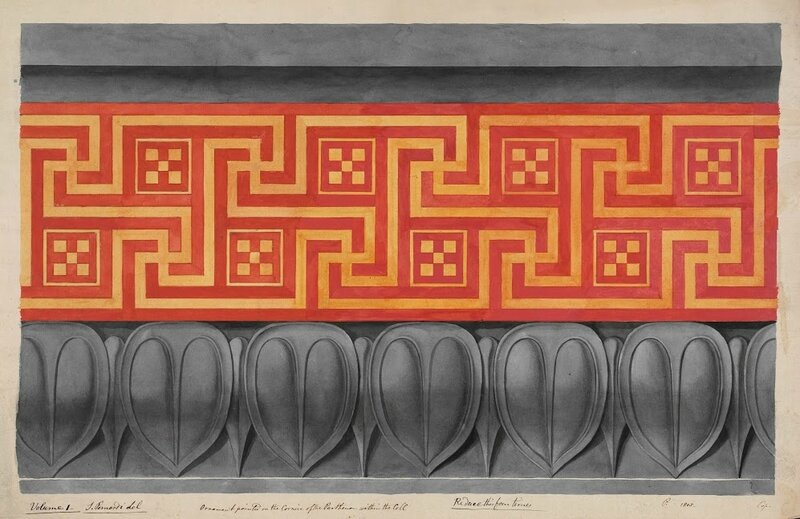 Simone Pomardi Painted Ornament of the Interior Cornice of the Cella