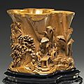 Boxwood brush-holder depicting a scholars' gathering in the west garden, late 17th to early 18th century
