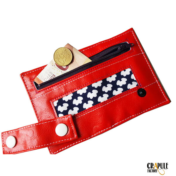 Porte carte / porte monnaie / billets zip original rouge et motifs pop vintage psyché artisanat made in France CrApule FActOry stephanie ERLICH-MAUJEAN