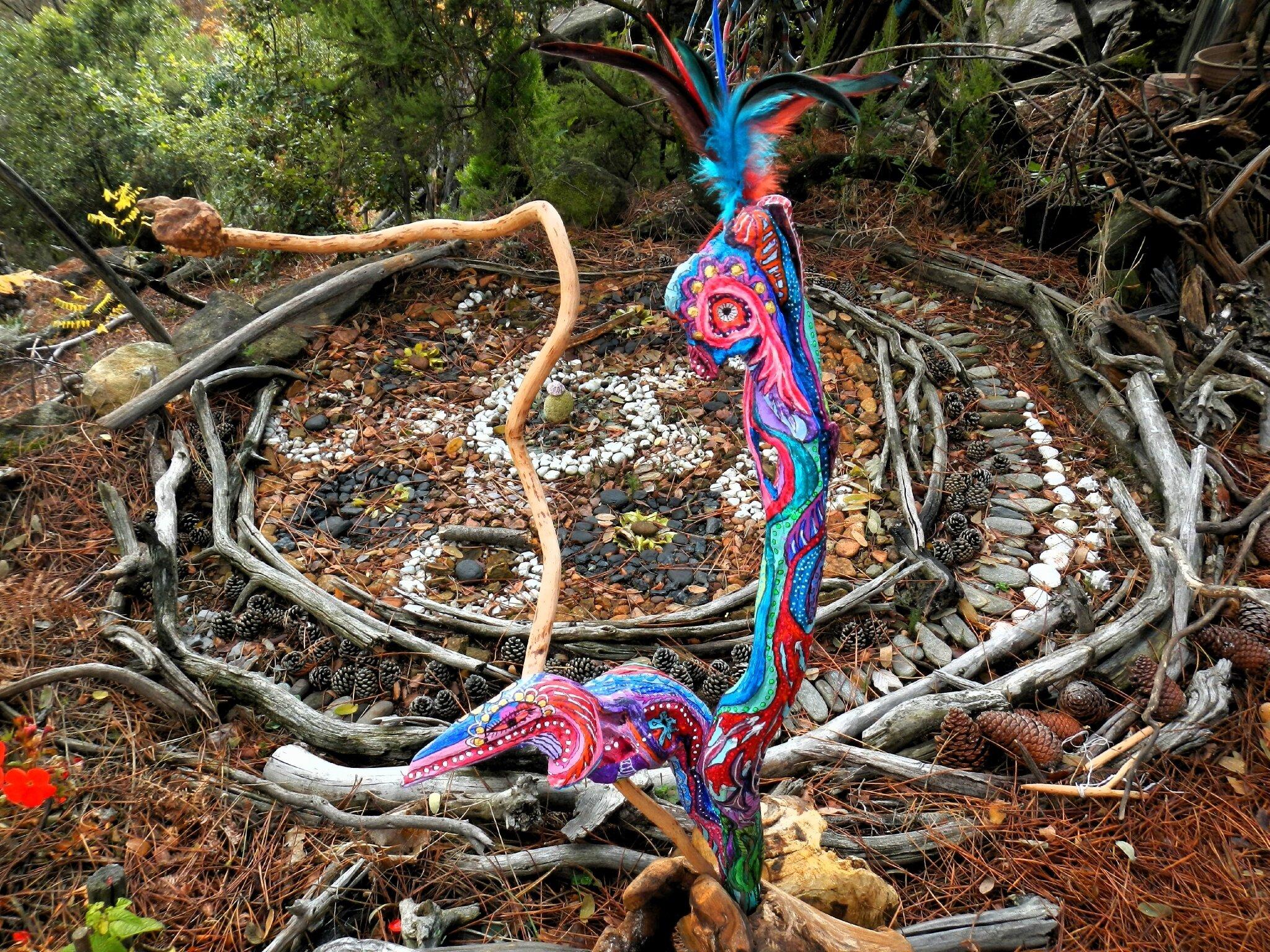 sculpture coq et crosse