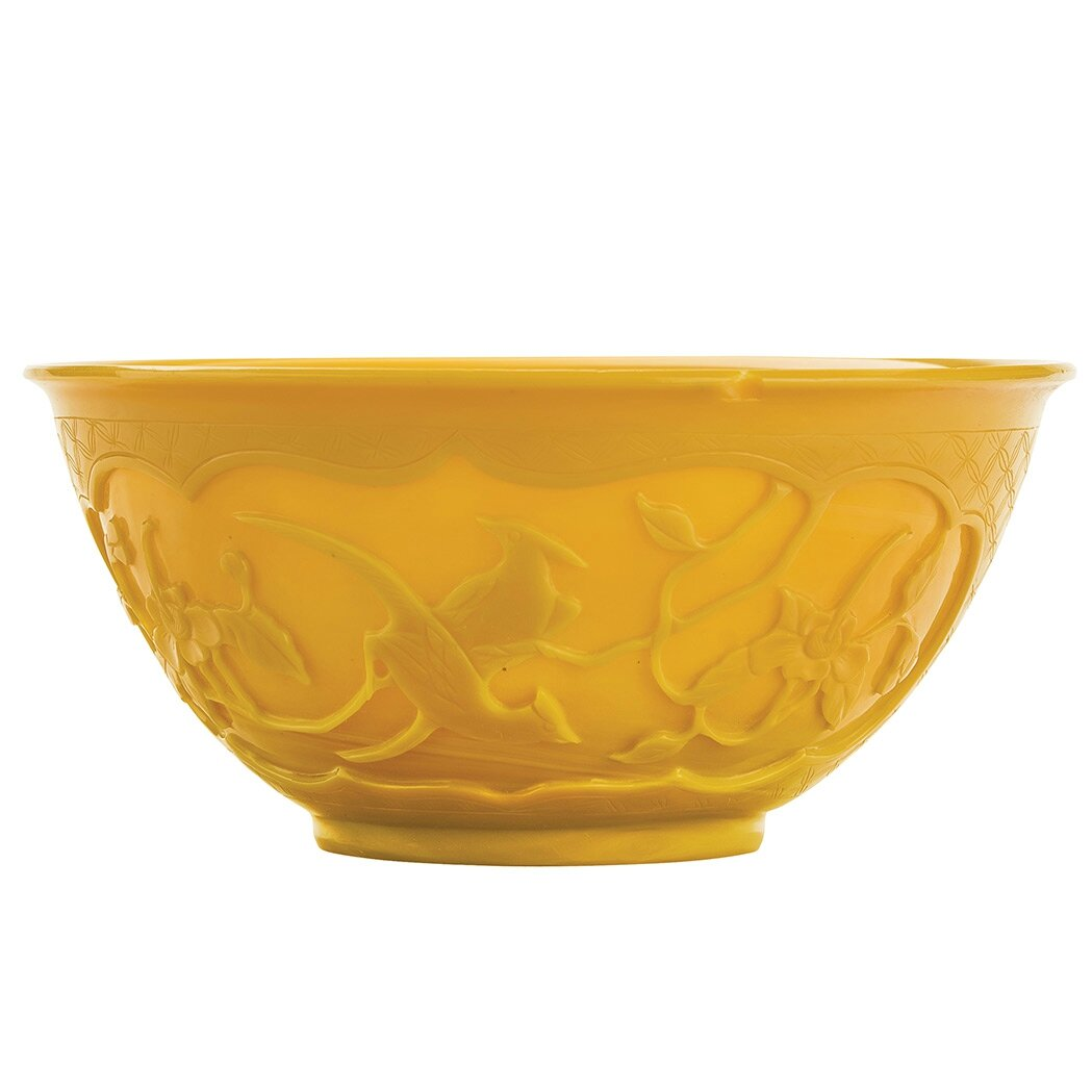 Chinese Yellow Glass Bowl, 19th Century