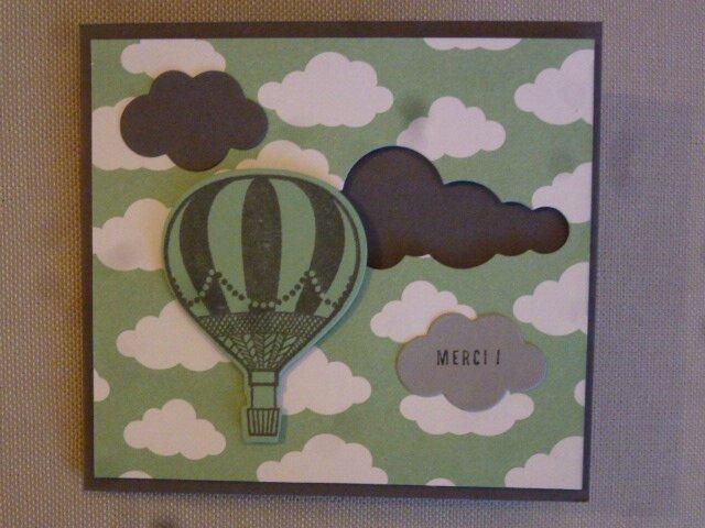 3 Carte montgolfière Macaron menthe Gris souris