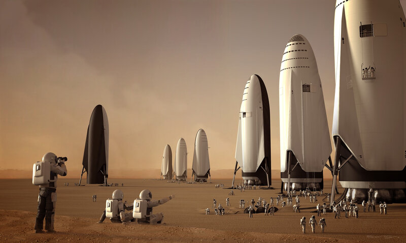 Fleet of SpaceX ITS spaceships on Mars by Sam Taylor
