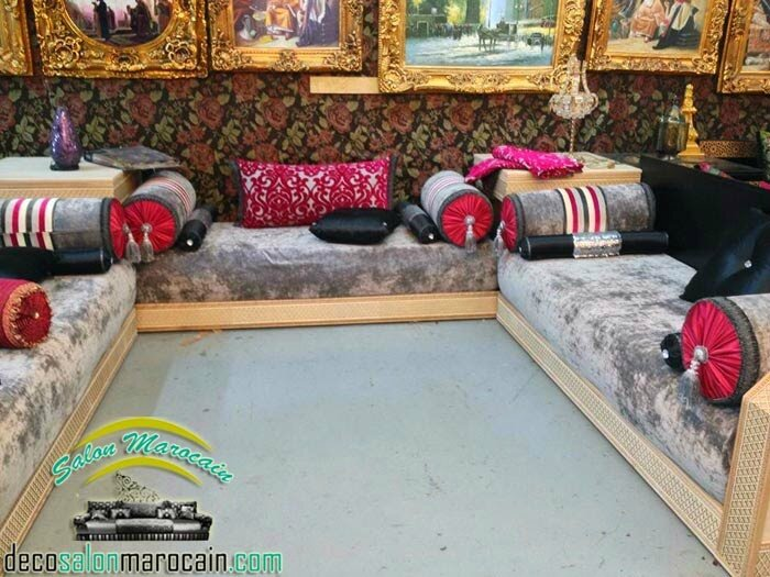 Salon marocain moderne tissu gris moubra - Salon marocain moderne
