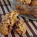 Cookies moelleux à la nougatine et au chocolat truffé