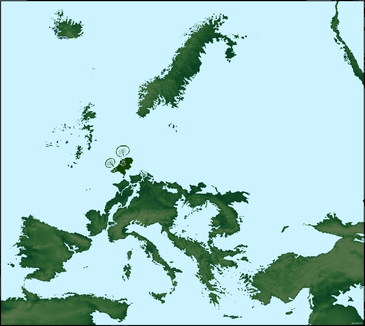 Europe-If sea levels rose a couple hundred meters in Europe