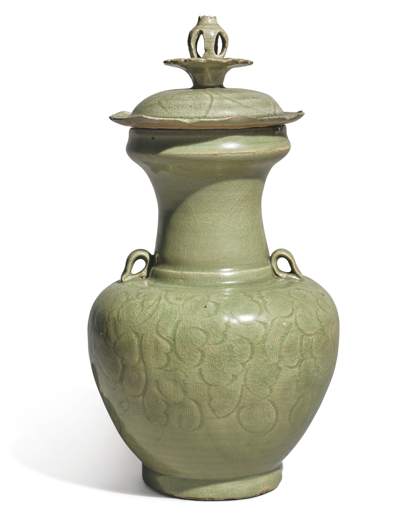 A 'Longquan' celadon-glazed 'floral' vase and cover Five Dynasties-Northern Song dynasty (907-1126)