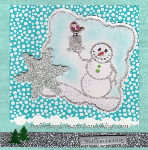 carte scrap bonhomme de neige