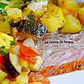 Porchetta garnie de nouilles de patates douces et légumes du soleil