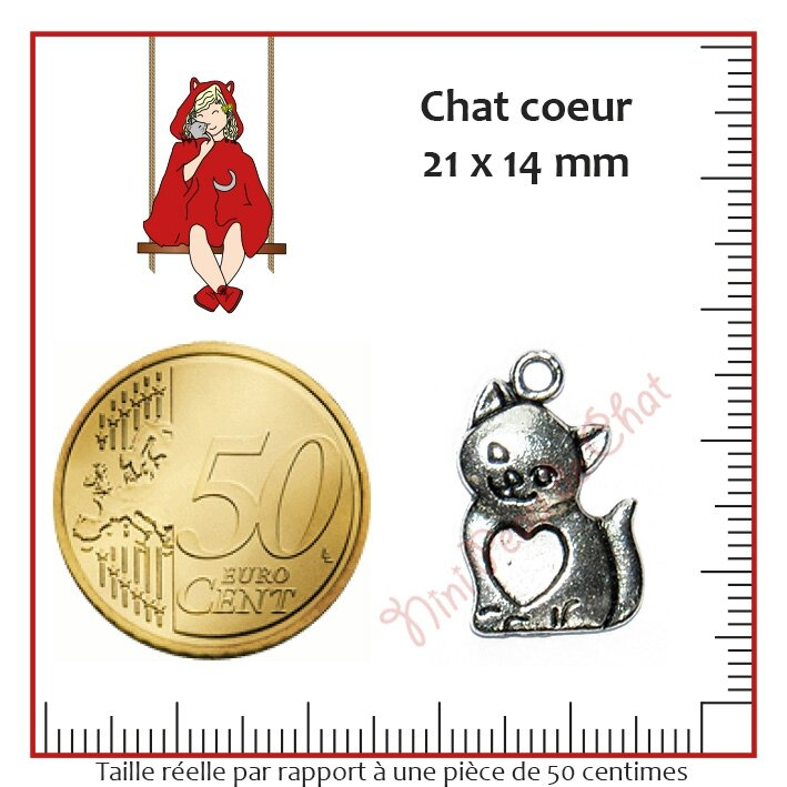 Chat coeur 21 x 14 mm