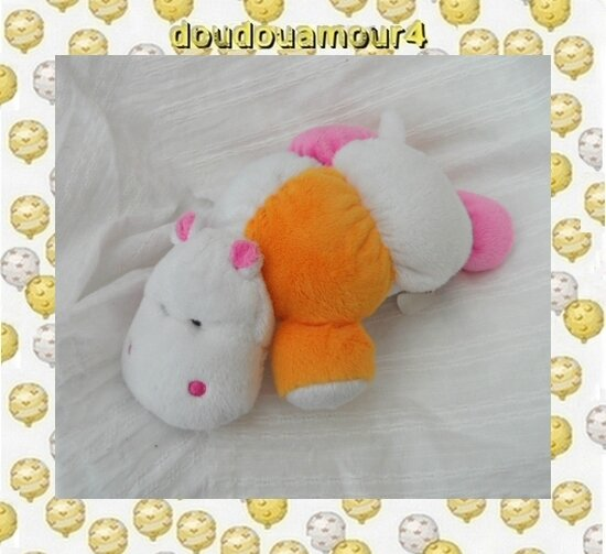 Doudou Peluche Hippopotame Blanc Rose Orange Hochet Tigex 20 cm
