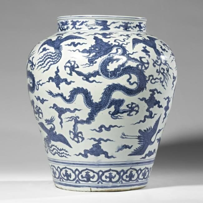 A large blue and white 'Dragon' jar, Jiajing mark and period