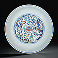A doucai 'phoenix' dish, daoguang six-character seal mark in underglaze blue and of the period (1821-1850)