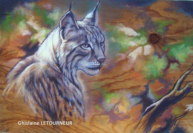 Lynx boréal portrait sur bois Ghislaine Letourneur
