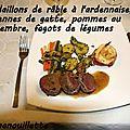 Médaillons de râble de lièvre à l'ardennaise, couennes de gatte, pommes au gingembre et fagots de légumes