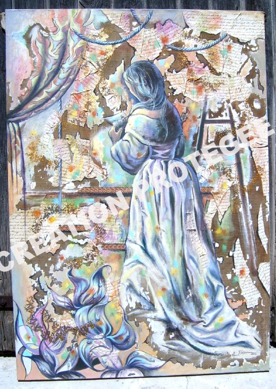 LA NOUVELLE Ghislaine Letourneur Technique mixte peinture collage sur toile - La liseuse décor tenture