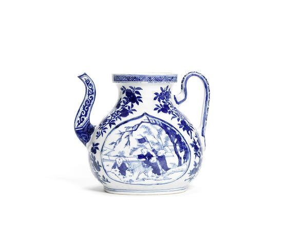A very rare blue and white peach-shaped 'boys' ewer, Jiajing six-character mark and of the period