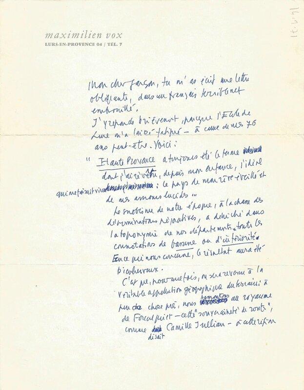 Lettre Maximilien Vox à André Lombard 1971
