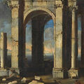 Leonardo coccorante (italian, 1680-1750), a capriccio view with ruins, figures in the foreground and the sea beyond