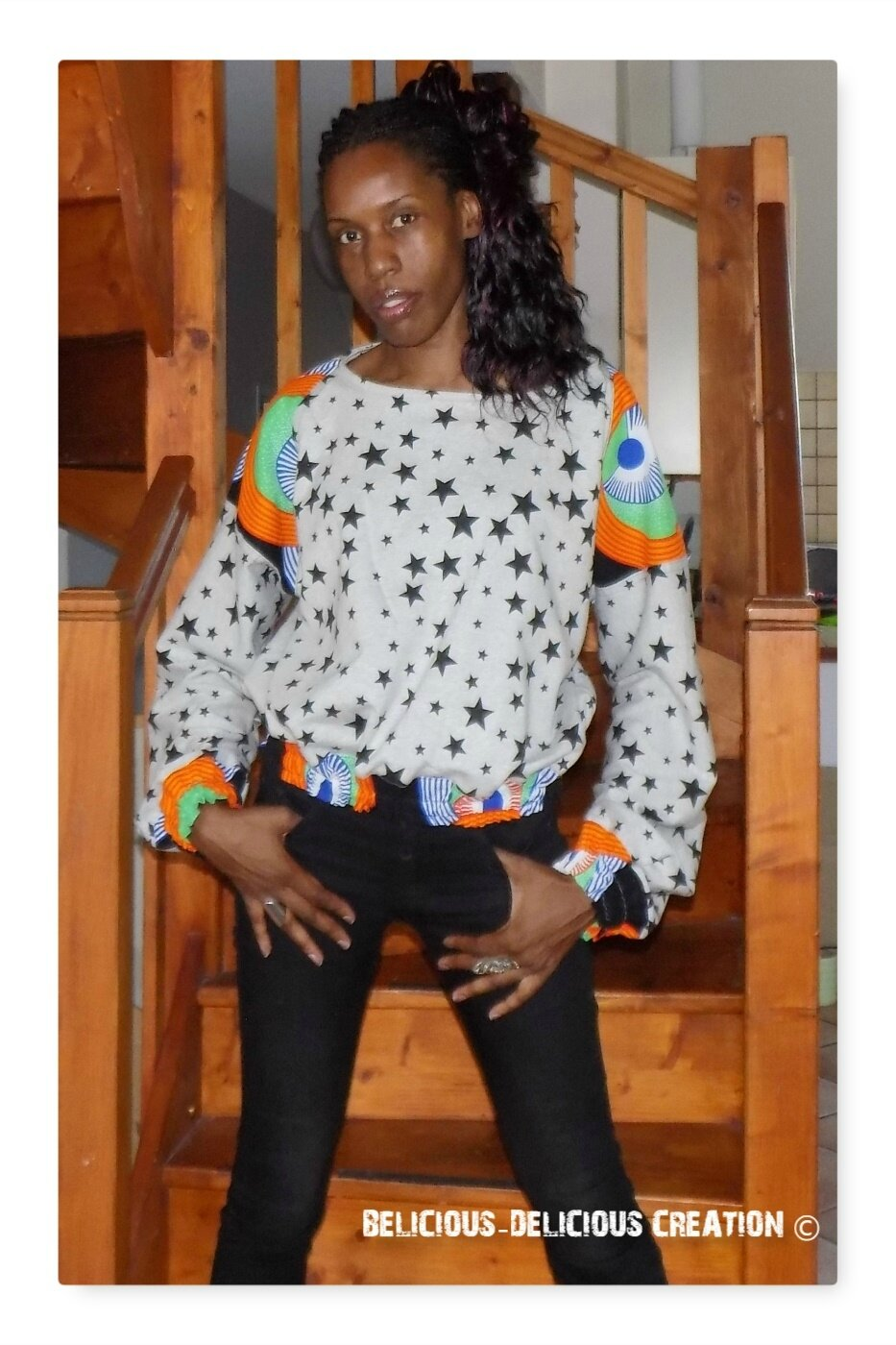 Originale Sweat Top !! WAXSTAR!! gris noir en coton imprime stars et tissu wax Taille. 40 belicious-delicious-creation