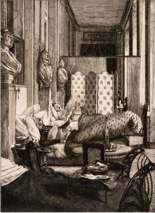 Tissot (James), Le foyer de la Comédie française (1875), Souvenir du siège de Paris