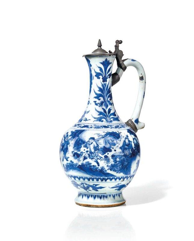 Aiguière en porcelaine bleu blanc, Chine, époque Transition, XVIIème siècle