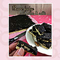 Barre ou carré fudge chocolat noir caramel noix pécan & sablé