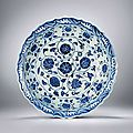A very rare and fine large blue-white interlocking flowers dish, period of yongle, ming dynasty