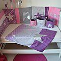 couverture bébé naissance thème ange étoiles parme mauve violet argent gris rose