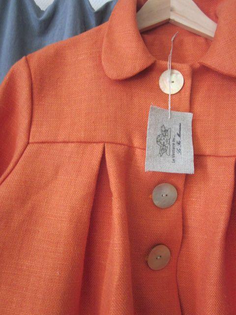 manteau d'été bicolore en lin orange et lin brut (4)