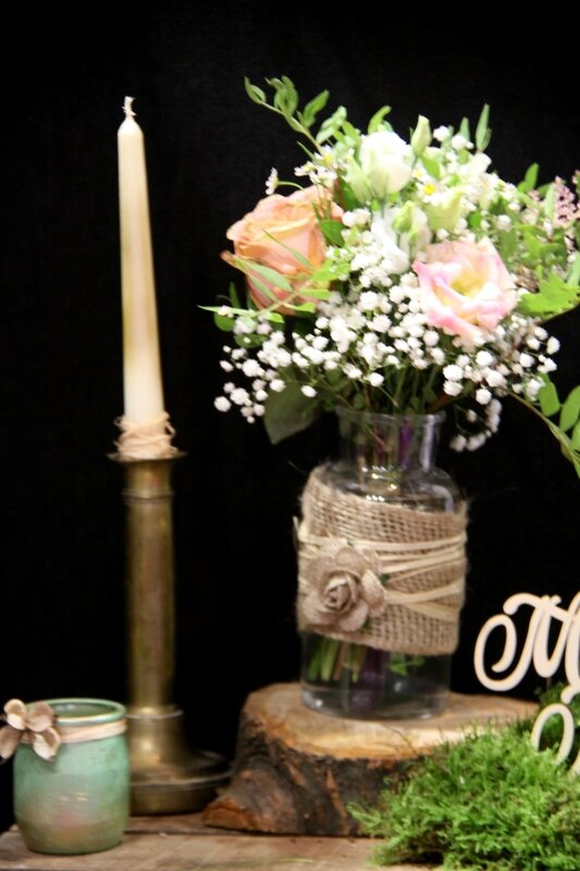 Décoration mariage - Petit centre de table champêtre - création La Saladelle - Atelier floral Perpignan et Pyrénées-Orientales 01