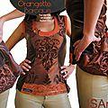 Bustier/top femme : laçé d'un ruban au dos ! en taffetas changeant & velours ! marron orange à dentelle fine de style baroque !