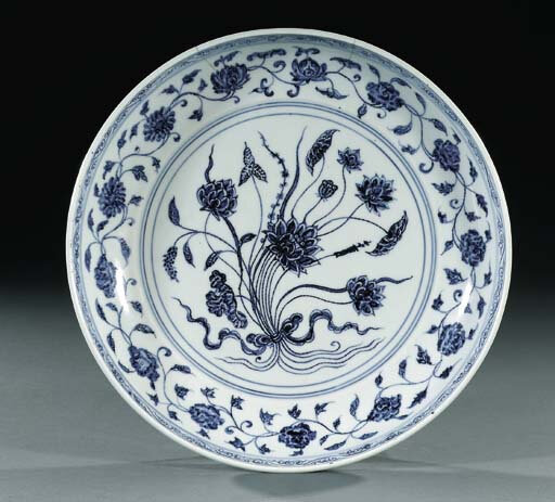 A blue and white saucer-dish, Yongle period (1403-1425)