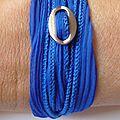 Bracelet -Manchette 'Boucle & Soie' bleu kein