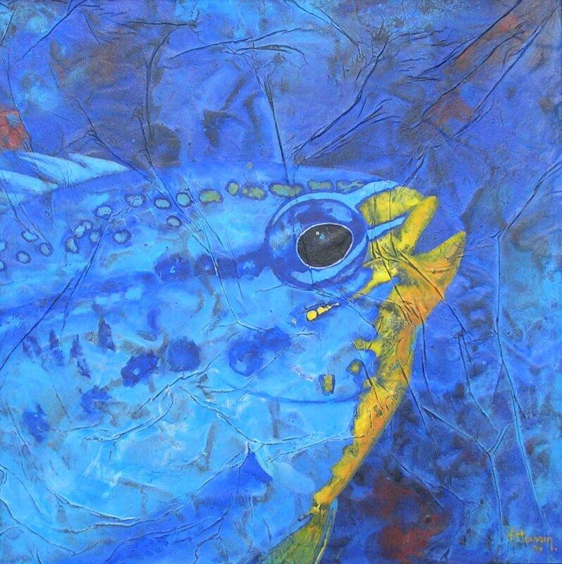 Demoiselle - acrylique sur bois - 30x30cm - 2005
