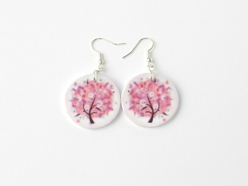 boucles d'oreilles fimo arbre rose
