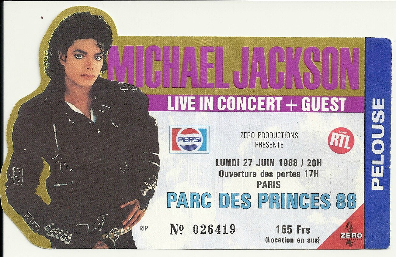 Ticket Du Bad Tour Au Parc Des Princes  27 Juin 1988