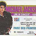Ticket du bad tour au parc des princes, 27 juin 1988