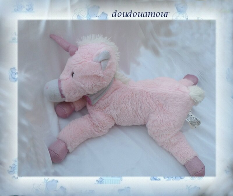 Doudou Peluche Licorne Rose BETG B&G International 45 cm