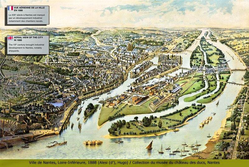 Plan ville de Nantes, Loire-inférieure, 1888 collection du musée du château des ducs de Bretagne