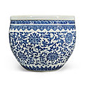 A blue and white 'floral' fishbowl, qing dynasty, 18th century
