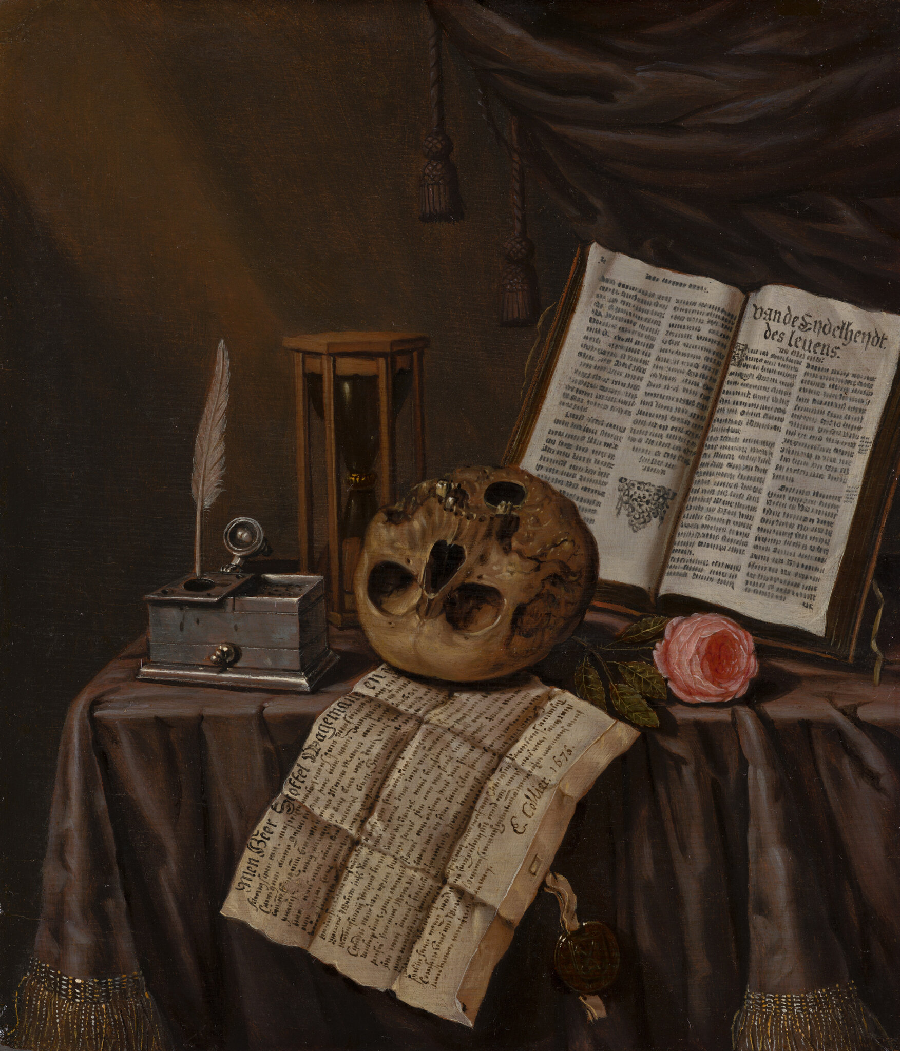 Edwaert Collier, Vanitas Still Life, 1675, oil on panel, 19.5 x 17 cm. © 2019 Mauritshuis