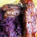 Travers de porc et sa compote de chou rouge aux pommes