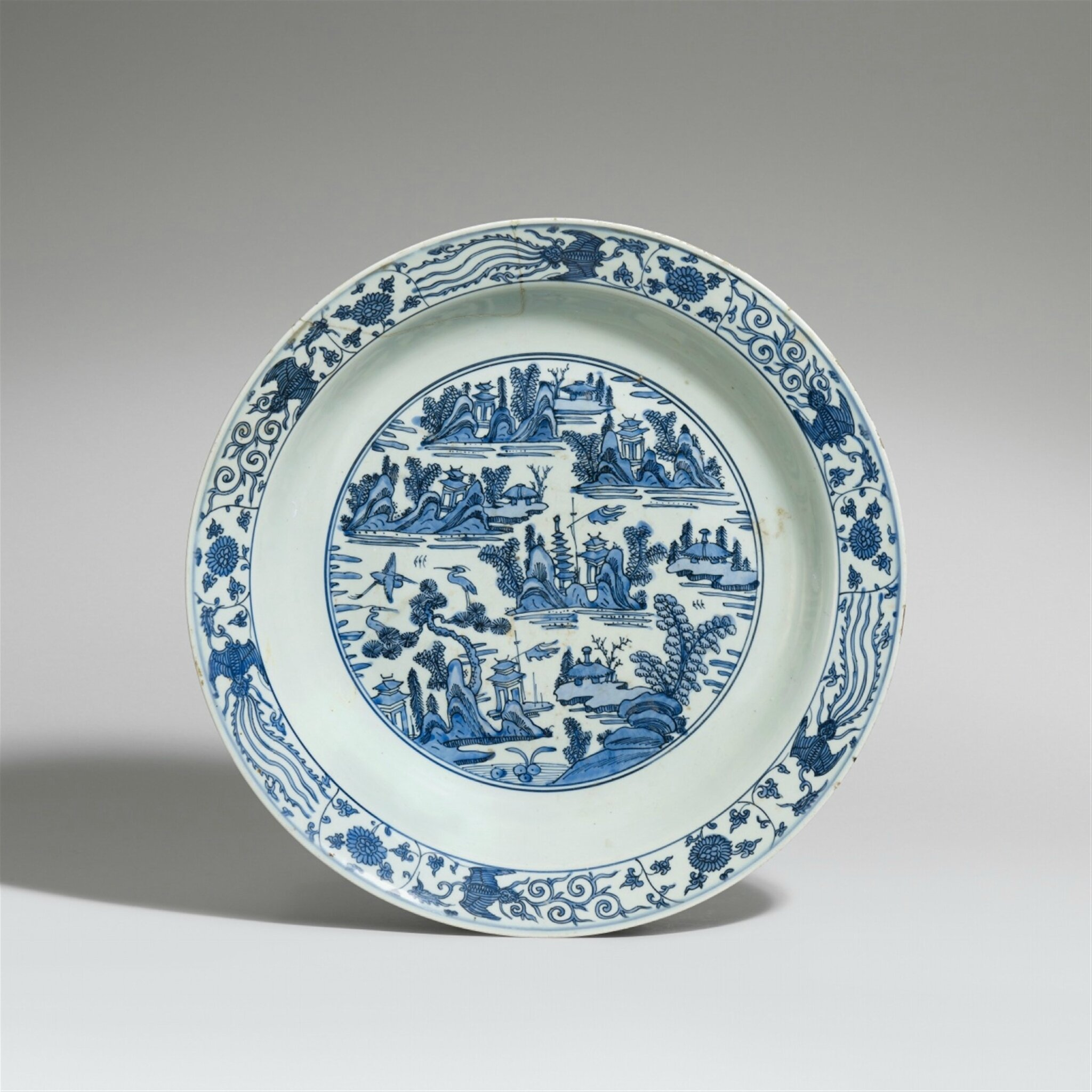 A blue and white dish, Late Ming dynasty
