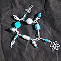 bracelet breloques bleu et blanc